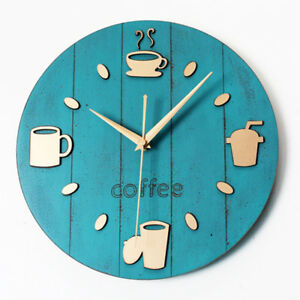 Etonnant Image Is Loading Kitchen Wall Clock Modern Design Coffee Time Vintage