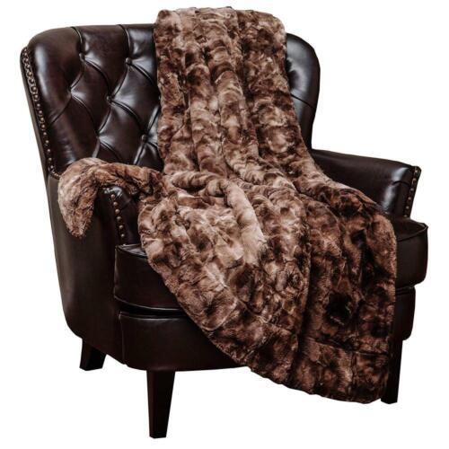"""Chocklate Chanasya Faux Fur Throw BlanketSuper Soft Fuzzy 50/"""" x 65 /"""""""