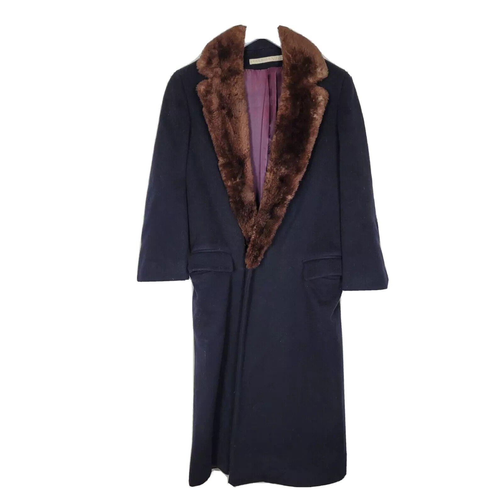 Vintage Perry Ellis Unisex Blue Long Sleeve Faux Fur Collared Wool Coat Size 4