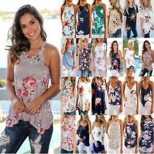 Women-Ladies-Floral-T-Shirt-Tops-Summer-Boho-Beach-Loose-Tank-Top-Vest-Blouse-US