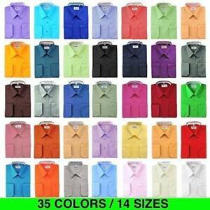 Berlioni-Italy-Men-039-s-French-Convertible-Cuff-Solid-Colors-Dress-Shirts