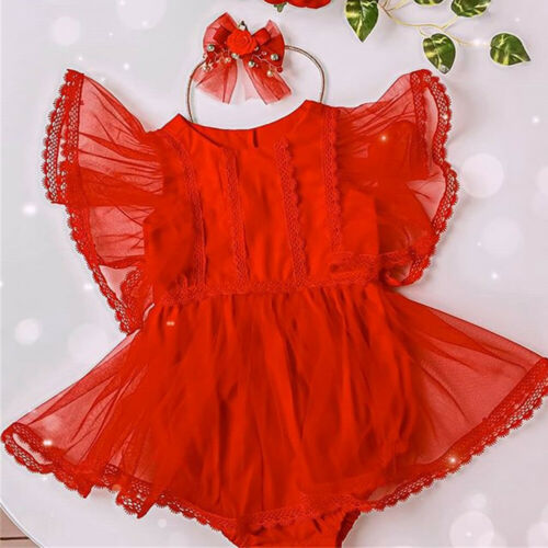 US Newborn Baby Girls Lace Romper Dress Bodysuit Jumpsuit Outfits Clothes Summer