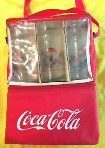 VINTAGE-Coca-Cola-Coke-Insulated-Bag-and-Glass-Set-NEW-OLD-STOCK