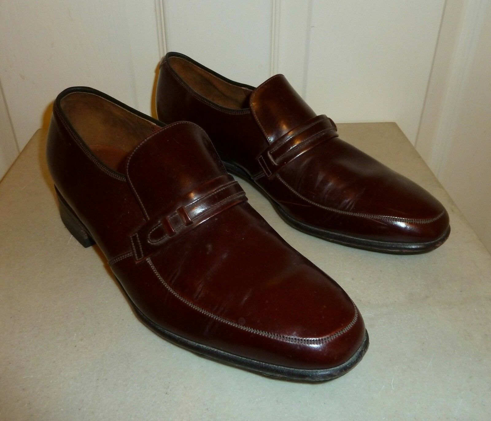 QUALITY BARKER of Earls Barton BROWN LEATHER SLIP ON SHOES Size 8 , E