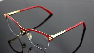 02476b2ece RARE Genuine VERSACE Red Pale Gold Cat Eye Glasses Half Rim Frame VE ...