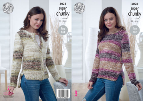 King Cole Ladies Super Chunky Knitting Pattern Easy Knit Sweater /& Cardigan 5028