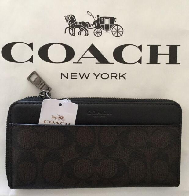 1ae39beaa8 Coach Mens F75000 Mahogany Brown Accordion Wallet Signature Leather
