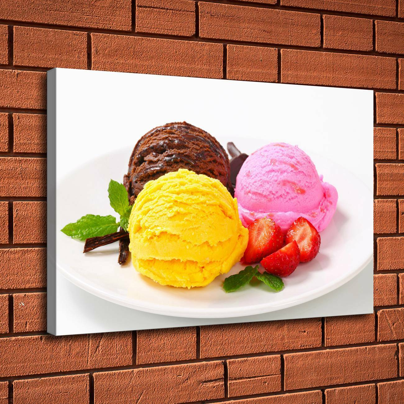 """12/""""x18/""""Ice Cream Strawberry Home Decor HD Canvas Print Picture Wall Art Painting"""