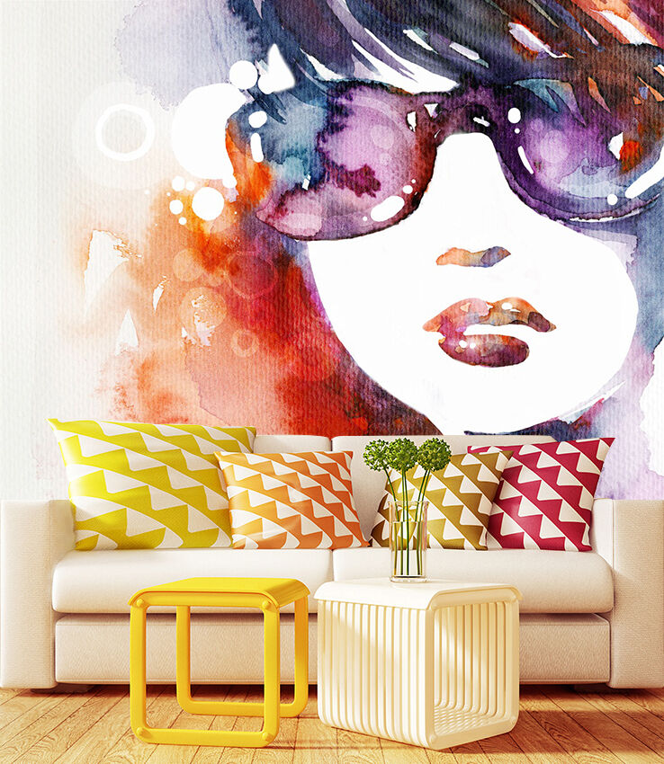 3D girl painting watercolor Wall Paper Print Decal Wall Deco Indoor wall Mural