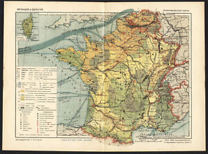 Map Of France Belgium.Details About 1930 Map Of France And Belgium Europe By Ggk Vsnh Ussr Soviet Rare