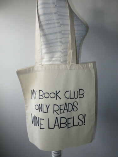 Great for Book Club Lovers//Wine Foldable Tote Bag Large Cotton Novelty Bag