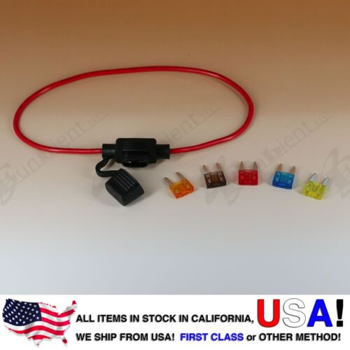 ATM APM Mini Blade Inline 16AWG Fuse Holder Water Proof 5A 7.5A 10A 15A 20A