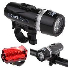 New Waterproof 5 LED Lamp Bike Bicycle Front Head Light+Rear Safety Flashlight K