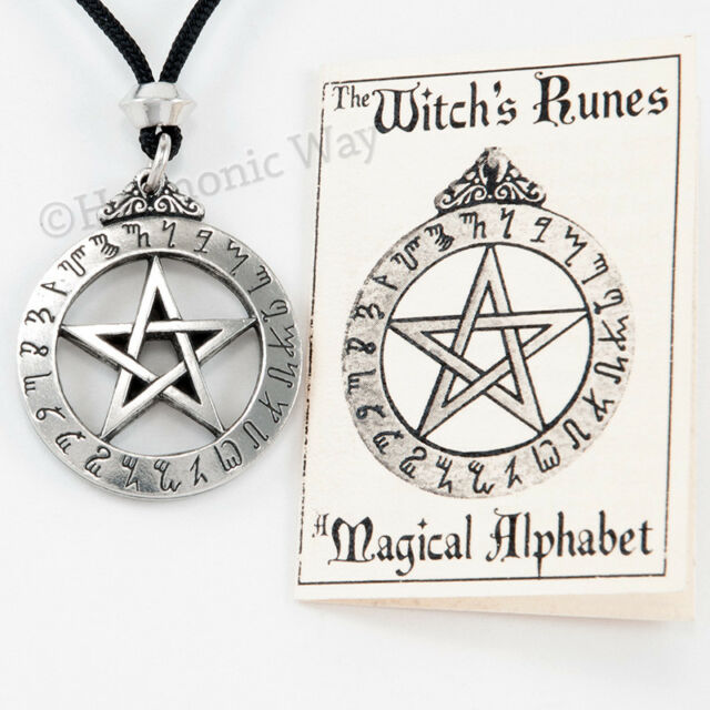 Witches Runes Rune Pentagram Pendant Pentacle Necklace Ebay