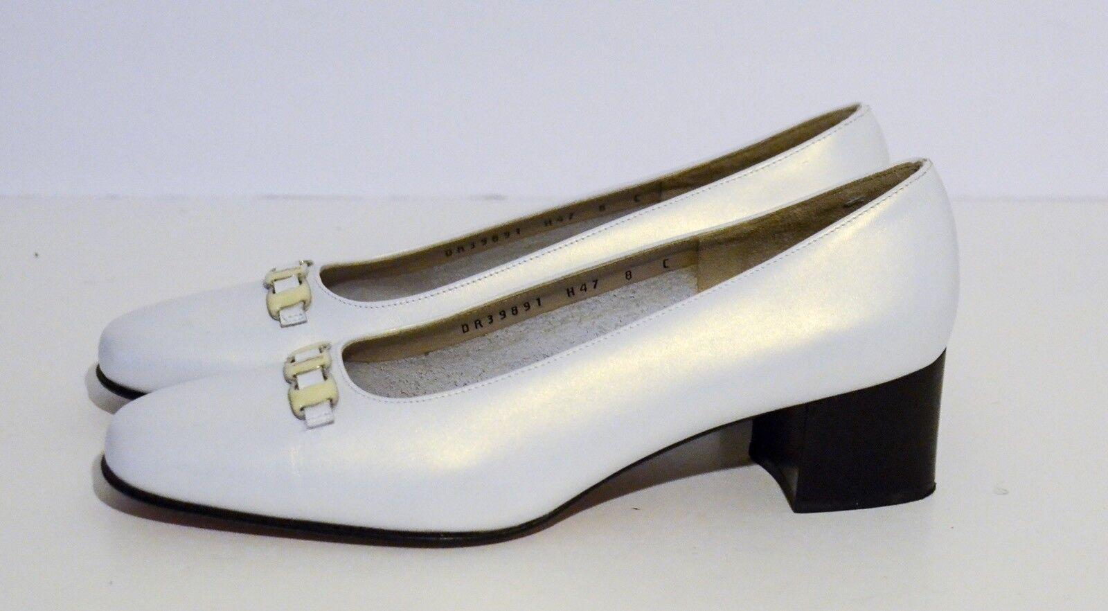 Salvatore Ferragamo Boutique Dorado blancooo Iridiscente Cuero Cuero Cuero Zapatos De Salón Talla 8 C  más vendido