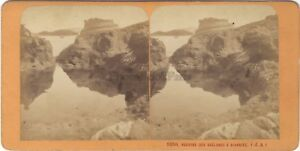 Biarritz Rochers Dei Goëlands Foto J.Andrieu Stereo Vintage Albumina Ca 1870