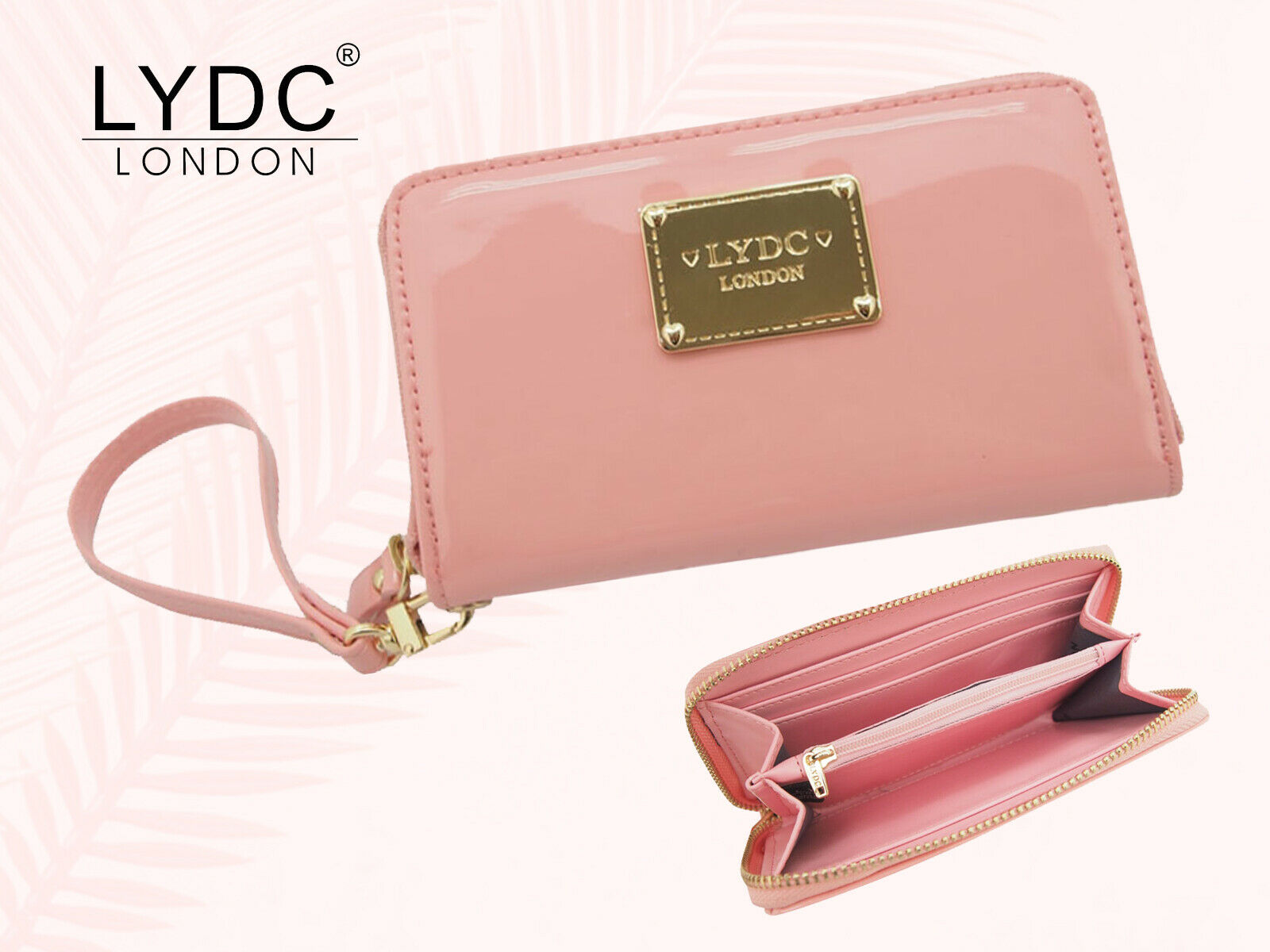 LYDC London Glossy Pink Purse With Wrist Strap Womens Zipped Coin Notes Wallet