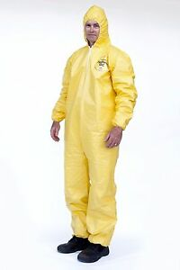 DuPont Tyvek Tychem QC127S QC Chemical Hazmat Coverall Suit W/ Elastic W&A