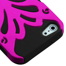 iPHONE 5 5S SE - HARD & SOFT RUBBER DUAL HYBRID FUSION CASE PINK BLACK BUTTERFLY