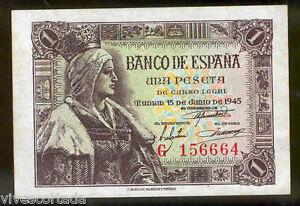 1 Peseta 1945 Isabel La Catholique @@ Sans Circulaire @@