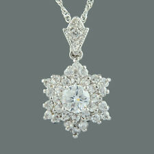Brass CZ 18K White Gold Plated White Topaz Round Cut Pendant Necklace Free Chain