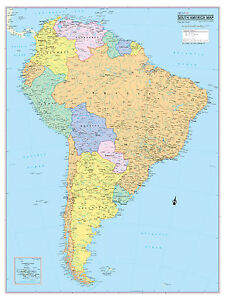 """Cool Owl Maps South America Continent Wall Map Poster - Laminated 24""""x32"""""""