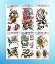 US Seller-fake tatoos 6 sheets Asian dragon temporary tattoo for men