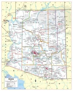 A Map Of Arizona State.Details About Cool Owl Maps Arizona State Wall Map Poster Paper 24 X30