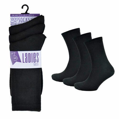 Pack of 1x 3x Premium Ladies Womens Girls Plain  Black Socks  Ankle Socks 4-6