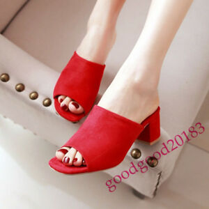 ca50c3c7ed8 2018 Ladies Mid Block Heel Shoes Sandals Mules Pull On Open Toe ...