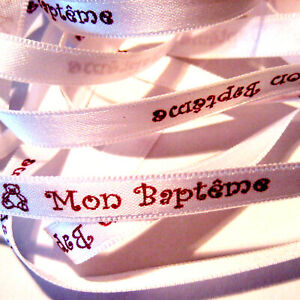 RUBAN - MON BAPTEME -TEXTE MESSAGE IMPRIME BORDEAUX S/RUBAN SATIN BLANC 8mm x 1m
