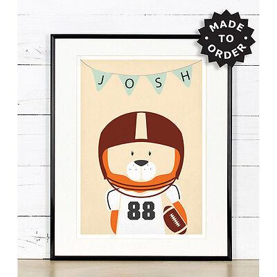 American Football Nursery Decor Lion Sports Theme Art Animals Ebay