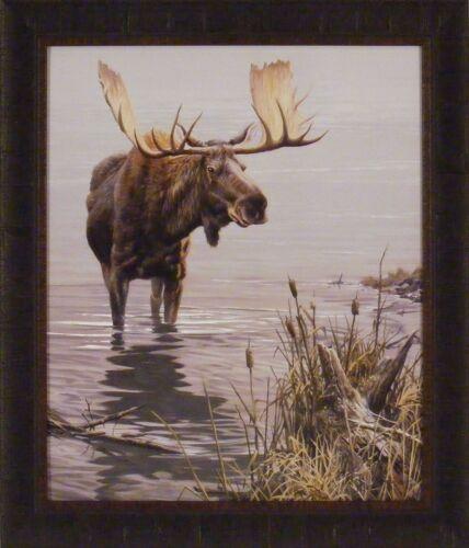 SILENT WATERS by John Seerey-Lester 24x28 FRAMED PRINT Bull Moose Wildlife