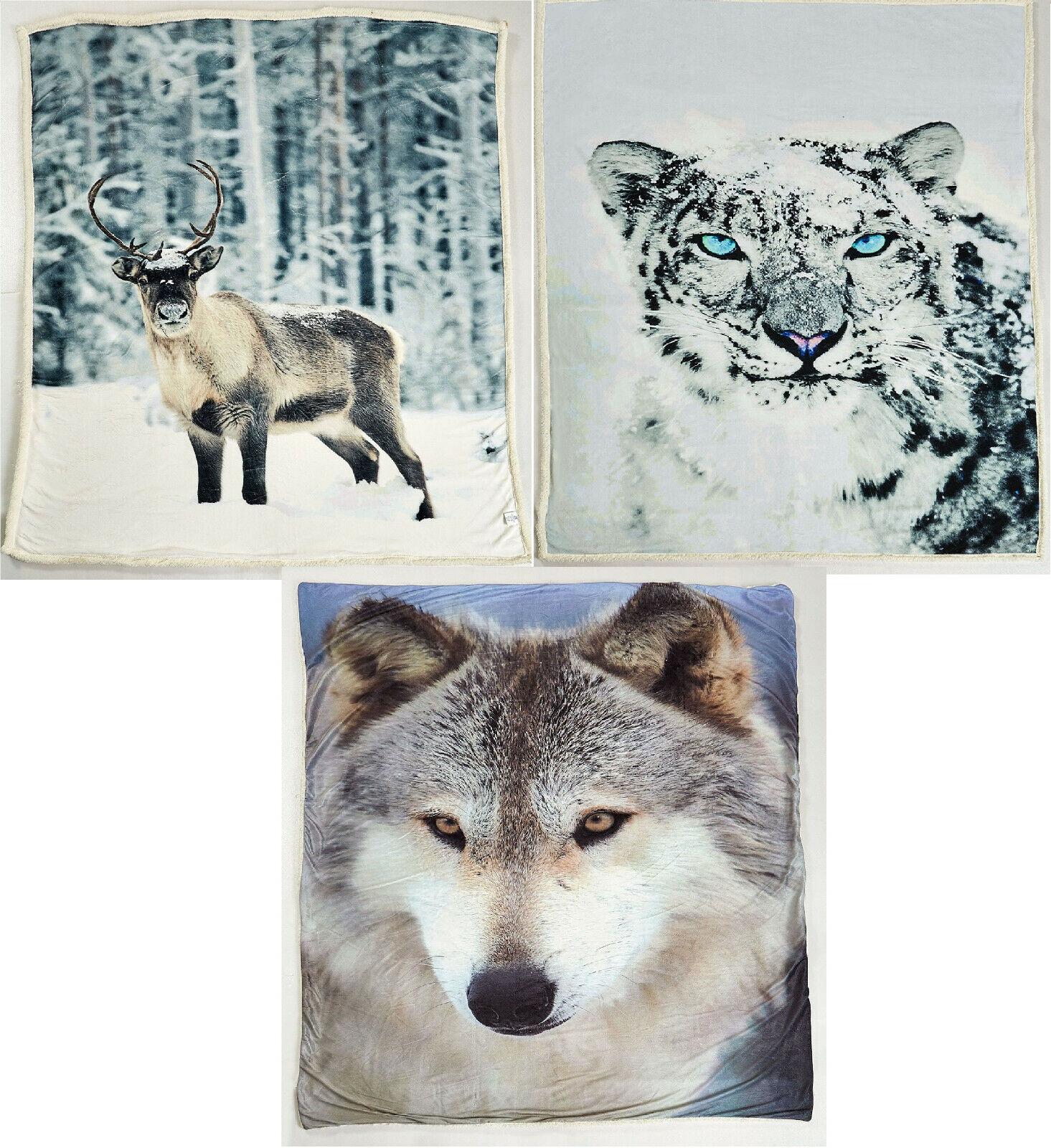 Sherpa Fleecedecke Wohnen Kuschel 150x200 cm Rentier Wolf Schneeleopard weich