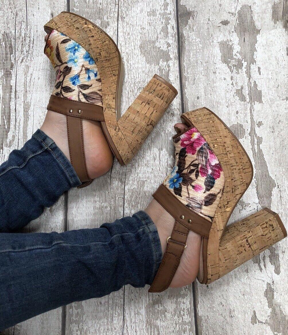 Beige platform heels Size 5 Dolcis Floral Peep Cork Effect Sling Back Peep Floral Toe Sandal b1bfd0