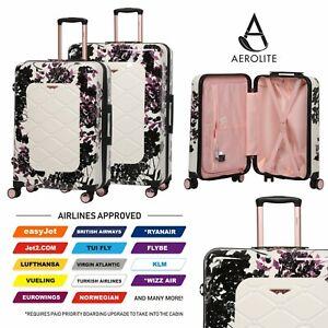 Aerolite-55cm-Hard-Shell-4-Wheel-Travel-Hold-Luggage-Cabin-Bag-Cases-Black
