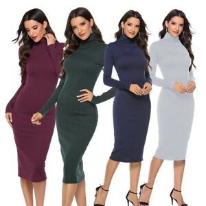 Pencil-Bodycon-Long-Sleeve-Knit-Women-Sweater-Dress-Turtleneck-Dresses-Slim