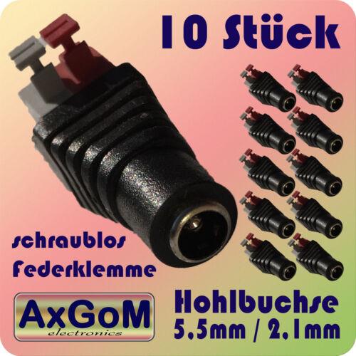 schraublose Feder-Klemmen 10 Stück 2,1 mm Hohlbuchse 5,5 mm