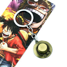 Anime One Piece Portgas·D· Ace Hat Cap Alloy Keychain Cosplay Key Ring