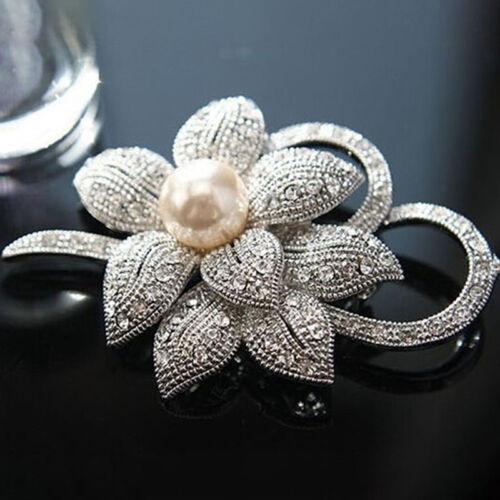 Encanto de Cristal para Mujeres Perla Broche Pin Alfiler Suéter simular Bufanda Clip LH