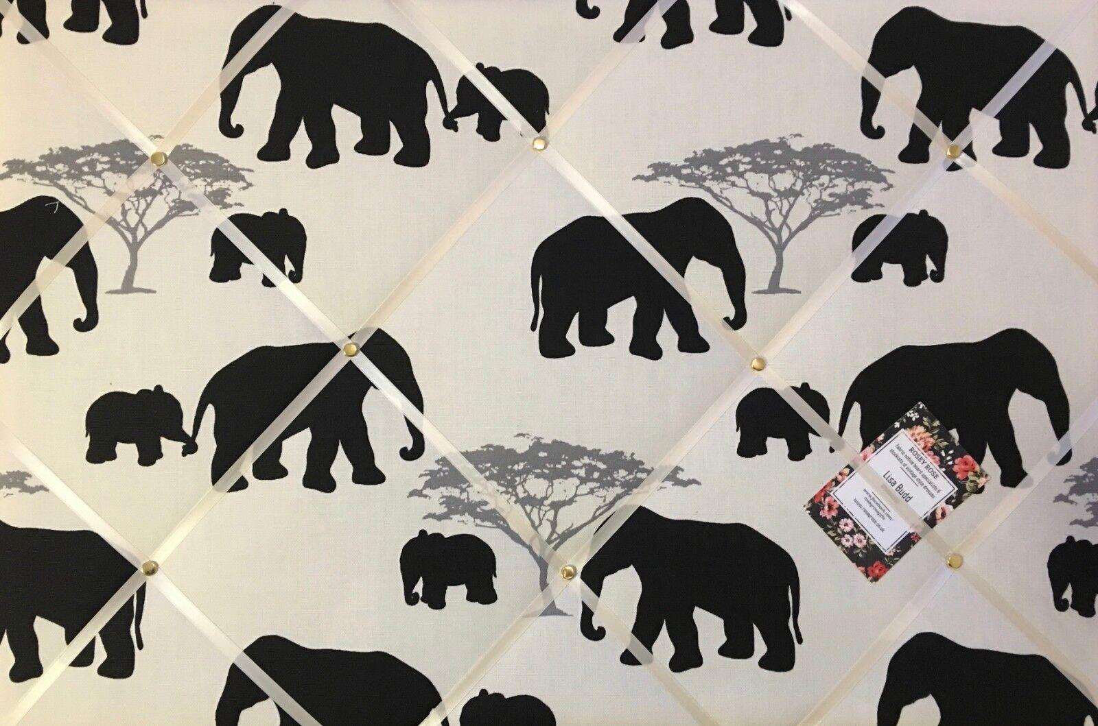 Marson Elephants Handcrafted Fabric Notice Pin Memo Memory Photo Board