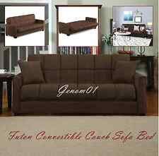 Futon Convertible Couch Sofa Bed Microfiber Sleeper Living Room Brown Furniture