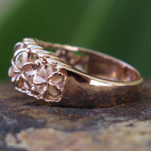 Hawaiian Silver Pink Gold Five Plumeria Flowers CZ Wedding Ring Band 8mm SR3249