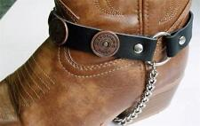 BLACK LEATHER SHOT GUN SHELL BOOT CHAINS STRAPS BIKER WESTERN COWBOY BUCKLE