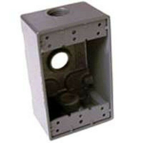 NEW BELL WEATHERPROOF 5324-5 GRAY ALUMINUM SINGLE GANG OUTLET BOX 1896281