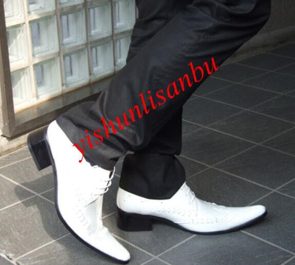 Uomo Lace up Wing Tip Breathable Patent Pelle Scarpe Leisure Fashion Scarpe Sz 17