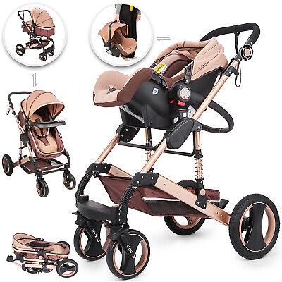 Kombi Kinderwagen Sportwagen Babywagen Set 3 in 1 Autositz Babyschale Neu Gold