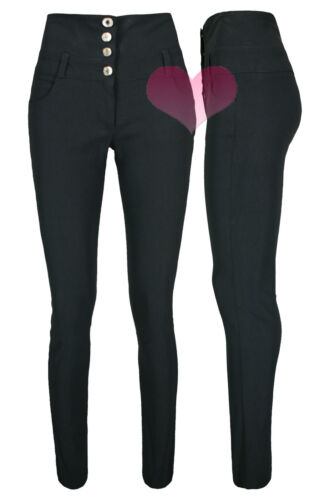 Ladies High Waisted Black Trousers Good Quality School Work Stretch Skinny Pants