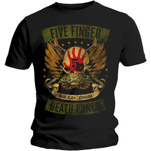 Five-Finger-Death-Punch-T-Shirt-Trouble-Locked-amp-Loaded-Official-Licensed-Black