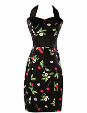Size 10 Womens Vintage 50s Swing Pinup Bodycon Cotton Floral Wiggle Pencil Dress